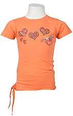 Cowgirl Hardware® Girls Orange w/ Studded Hearts & Horse Short Sleeve Tee