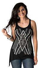 Petrol Women's Black with Studded Front Sleeveless Top