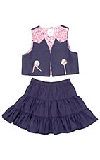 Kiddie Korral® Girls Denim Pink Prairie Skirt Set