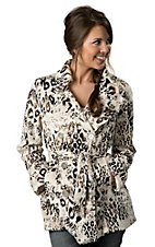 Ethyl® Ladies Cream Faux Fur with Metallic Gold Leopard Print Long Sleeve Coat