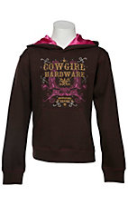 Cowgirl Hardware® Girls Brown with Pink & Gold Horseshoe Logo Pullover Hoodie