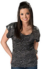 Rock & Roll Cowgirl® Women's Charcoal Gray Leopard w/ Sequins Dolman Short Sleeve Tee