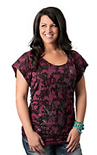 Rock & Roll Cowgirl® Women's Pink and Black with Studs and Rouched Sides Short Sleeve Burnout Fashion Top
