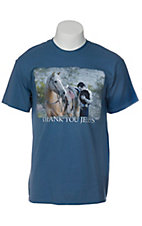 Cowboy Brand® Mens Blue Thank You Jesus T-Shirt