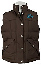 Cowgirl Hardware® Girls Brown Cowgirl Rose & Horseshoe Nylon Puff Vest