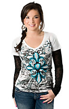 Rock & Roll Cowgirl® Women's White with Turquoise Fleur Cross with Black Burnout Long Sleeves Tee