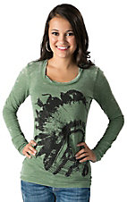 Rock & Roll Cowgirl Women's Moss with Rhinestud Indian Head Long Sleeve Burnout Tee
