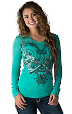 Rock & Roll Cowgirl Women's Teal with Winged Guns Long Sleeve Burnout Tee