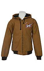 Cowgirl Hardware® Girl's Tan w/ Horses & Heart Logo Crystal Canvas Jacket