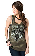 Rock & Roll Cowgirl® Women's Olive Green with Cross and Lace Back Sleeveless Fashion Top