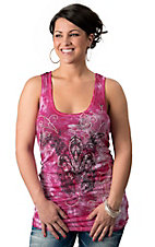 Rock & Roll Cowgirl® Women's Pink Tie Dye with Black Fleur, Lace and Studs Fashion Tank Top