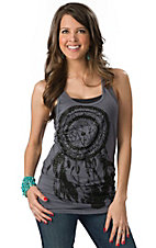 Rock & Roll Cowgirl® Women's Grey with Black Dream Catcher Long Body Tank