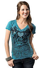 Rock & Roll Cowgirl® Women's Turquoise with Black Winged Heart Burnout Short Sleeve Tee