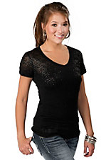 Rock & Roll Cowgirl® Women's Black Burnout with Black Studs V-Neck Short Sleeve Tee