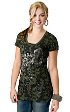Rock & Roll Cowgirl® Women's Olive Green and Black with Silver Winged Cross Short Sleeve Burnout Tee
