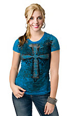 Rock & Roll Cowgirl® Women's Turquoise with Black Winged Cross Burnout Short Sleeve Tee