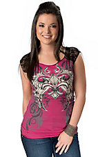 Rock & Roll Cowgirl® Women's Pink Winged Fleur de Lis and Black Lace Sleeveless Tee