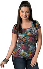 Rock & Roll Cowgirl® Women's Rainbow Snakeskin and Lace with Sequins Short Sleeve Tee