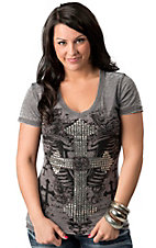 Rock and Roll Cowgirl® Women's Heather Gray with Rhinestone Winged Cross Short Sleeve Tee