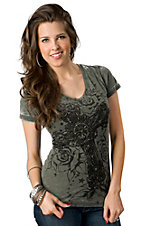 Rock & Roll Cowgirl® Women's Army Green with Black Cross and Roses Short Sleeve Burnout Tee