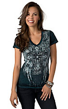 Rock & Roll Cowgirl® Women's Teal with Winged Cross and Roses and Sequins Short Sleeve Burnout Tee
