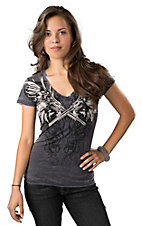 Rock & Roll Cowgirl® Women's Grey with Winged Guns and Rhinestones Burnout Short Sleeve Tee