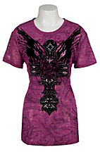Rock & Roll Cowgirl® Women's Purple w/ Black Winged Tribal Cross Burnout Short Sleeve Tee - Plus Sizes