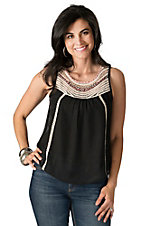 B Sharp Women's Black Chiffon with Crochet Trim Sleeveless Top
