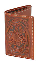 Tony Lama® Brown Floral Tooled Tri-fold Wallet 5154208