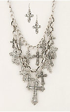 Cattilac Style® Silver Chain w/ Multiple Cross Charms Jewelry Set