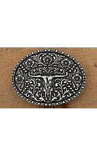 AndWest® Antique Silver Longhorn Skull Oval Buckle
