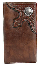 Tony Lama® Tan w/ Cognac Basket Overlay Mens Rodeo Wallet/Checkbook Cover 5173208