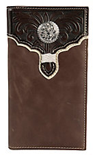 Tony Lama® Brown w/ Chocolate Tooled Overlay Bi-Fold Rodeo Wallet/Checkbook Cover 5174402