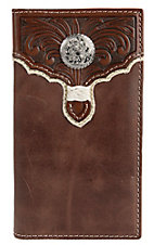 Tony Lama® Tan w/ Cognac Tooled Overlay Bi-Fold Rodeo Wallet/Checkbook Cover 5174408