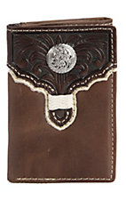 Tony Lama® Brown w/ Chocolate Floral Tooled Overlay Tri-fold Wallet 5174602