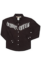 Cumberland Outfitters® Girl's Black with White Fringe Long Sleeve Western Shirt