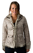 Powder River® Ladies Cream & Grey Crackle Short Faux Fur Western Coat