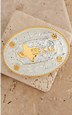 AndWest® Shiny Silver & Gold Texas Motif Oval Buckle