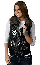 Powder River® Women's Black Zebra Metallic w/ Faux Fur Collar Western Vest