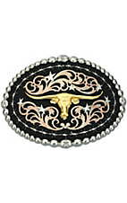 Montana Silversmiths® Tri-colored Raised Gold Longhorn Oval Buckle