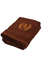 M&F® Western Moments™ Brown Lone Ride Horseshoe and Star Bath Towel