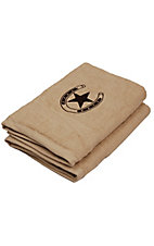 M&F® Western Moments™ Tan Brown Lone Rider Horseshoe and Star Bath Towel