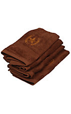 M&F® Western Moments™ Brown Lone Rider Horseshoe and Star Hand Towel