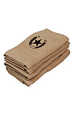 M&F® Western Moments™ Tan Brown Lone Rider Horseshoe and Star Hand Towel