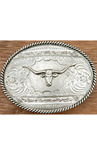 Montana Silversmiths® Antiqued Silver with Longhorn and Barbwire Oval Belt Buckle
