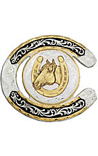 Montana Silversmiths® Horseshoe With Horse Two-toned Buckle