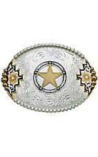 Montana Silversmiths® Two-tone Southwestern Accent Belt Buckle with Round Star Concho
