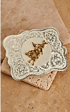 Montana Silversmiths® Scalloped Two-Toned Rectangular Bull Rider Buckle