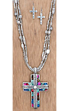 Cattilac Style® Silver Cross w/ Multi Colored Stones Jewelry Set