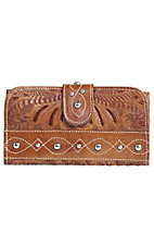 American West® Ladies Over the Rainbow Caramel Brown Leather Tooled Tri-Fold Wallet